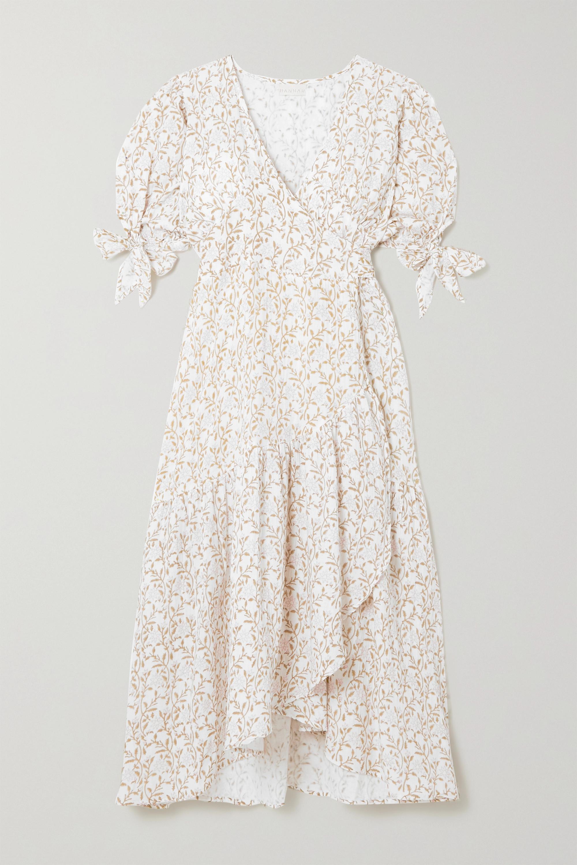 Hannah Artwear + NET SUSTAIN Yulara Midi-Wickelkleid aus Baumwollgaze mit Blumenprint