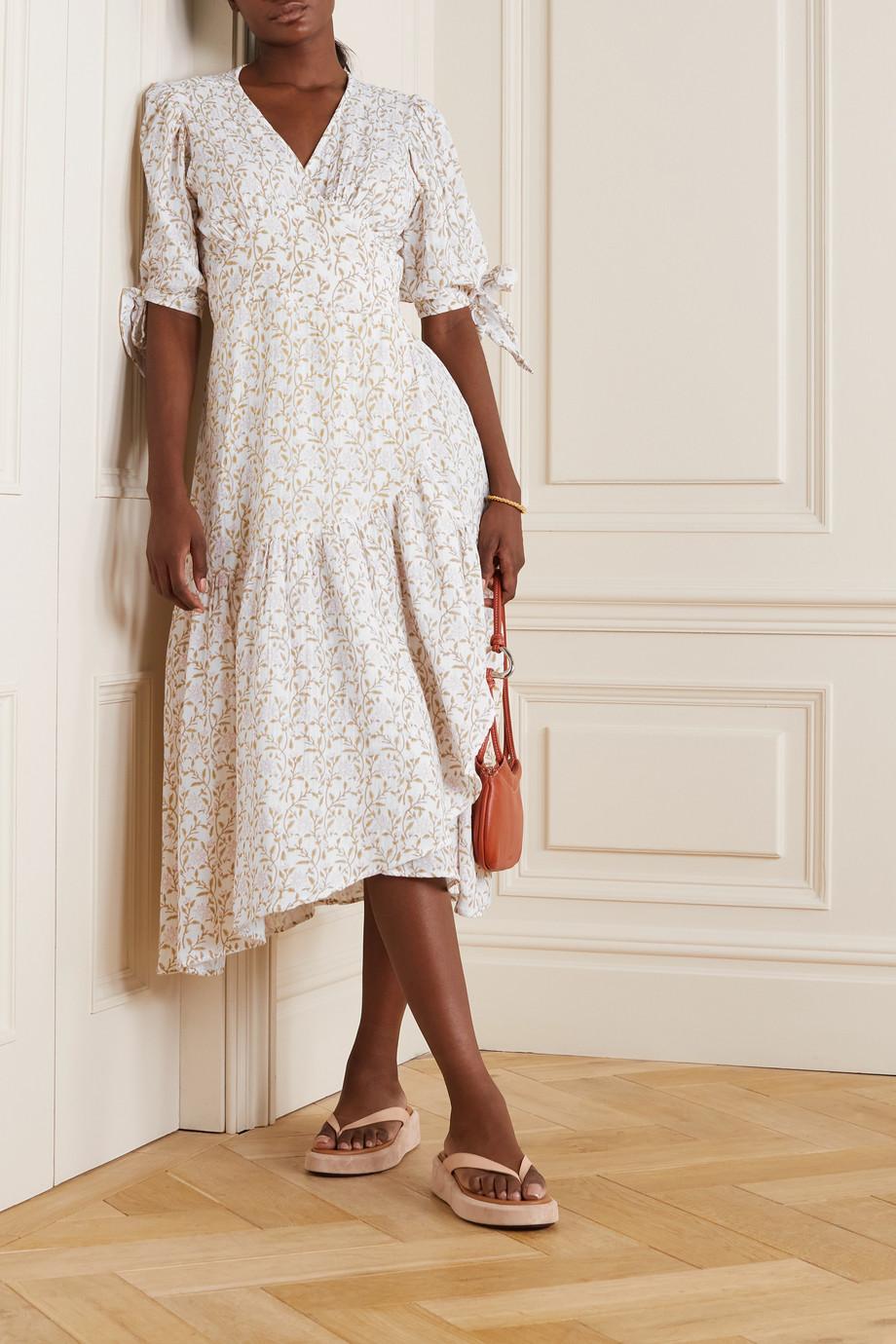 Hannah Artwear Robe portefeuille midi en gaze de coton à imprimé fleuri Yulara - NET SUSTAIN