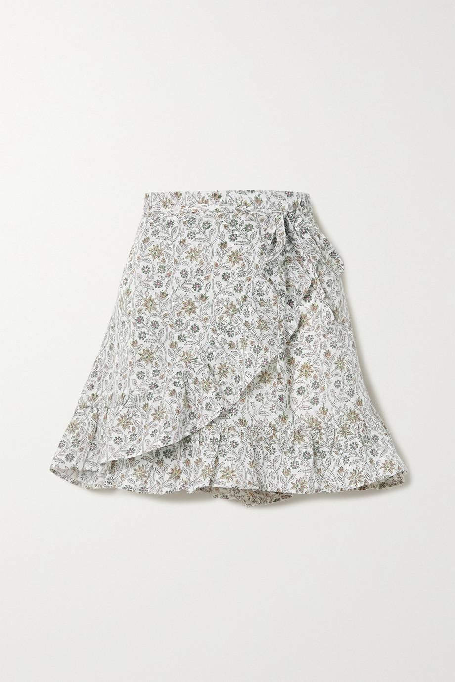 Hannah Artwear Mini-jupe portefeuille en lin à imprimé fleuri Senna - NET SUSTAIN