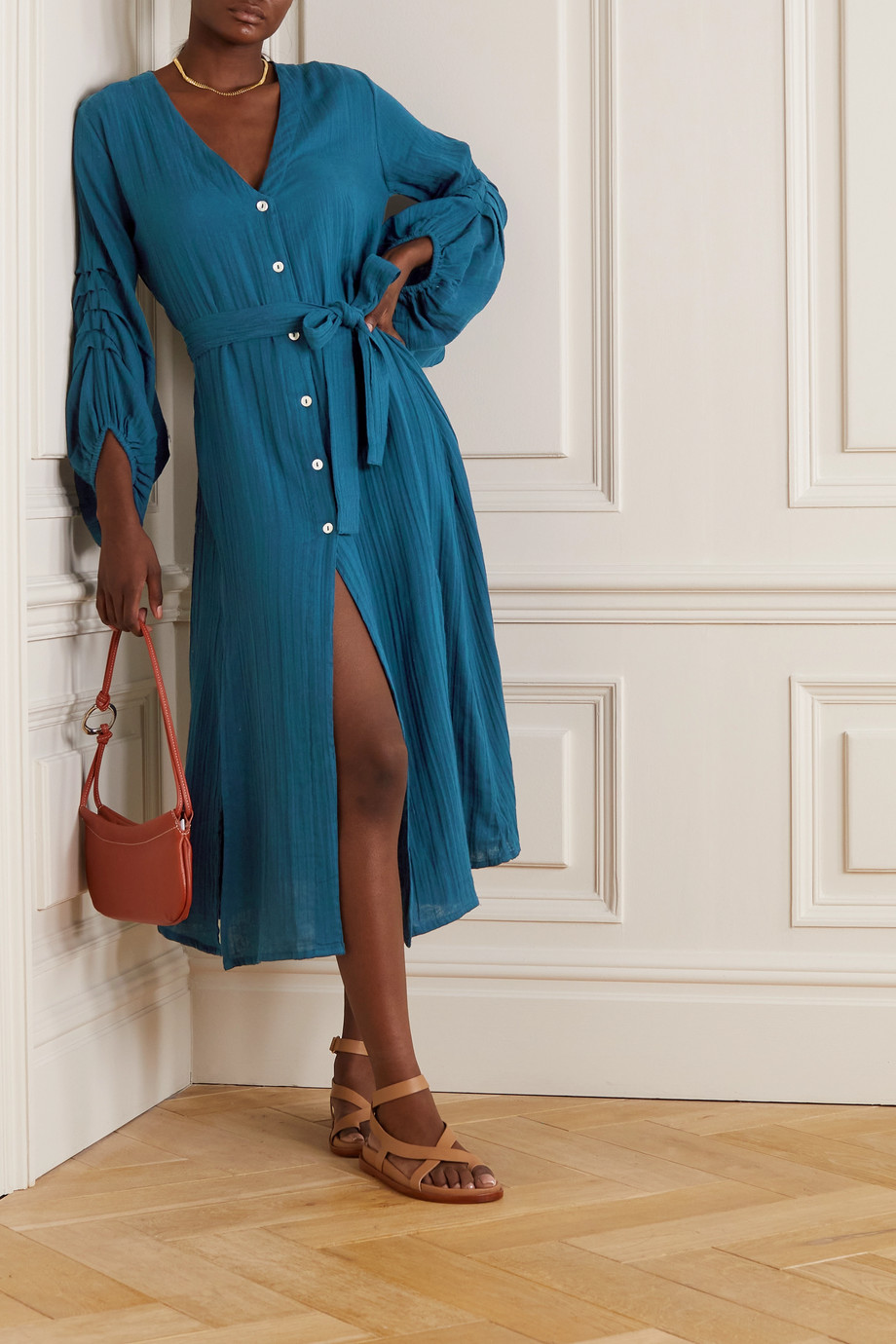 Hannah Artwear + NET SUSTAIN Jasmine belted cotton-gauze midi dress