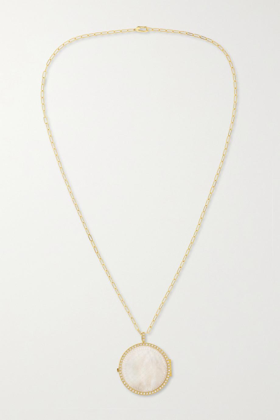 Octavia Elizabeth + NET SUSTAIN The Lover Locket Kette aus recyceltem 18 Karat Gold mit Perlmutt und Diamanten