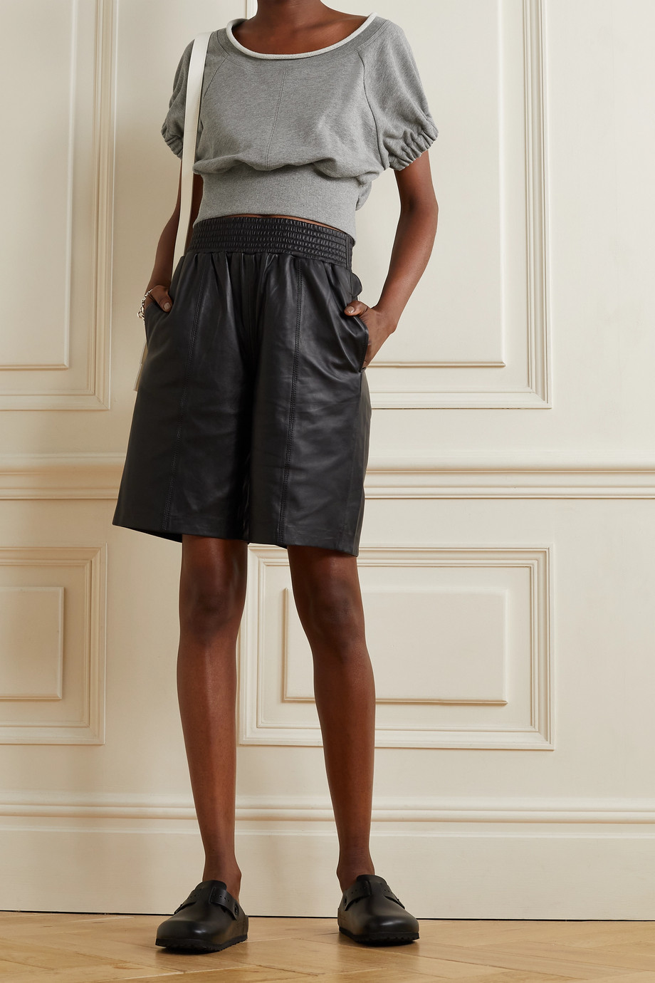 3.1 Phillip Lim Cropped gathered French cotton-terry top