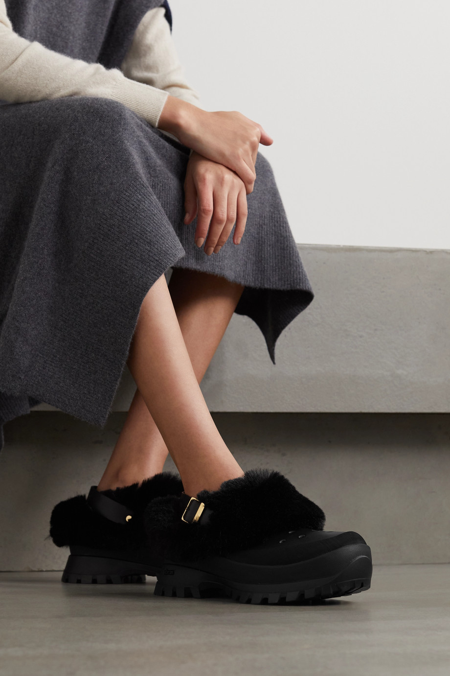 Stella McCartney Trace faux fur, vegetarian leather and rubber clogs