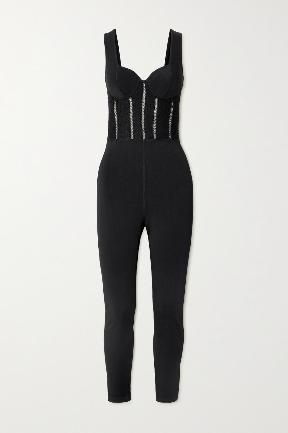 Alaïa Relax mesh-trimmed tech-jersey jumpsuit