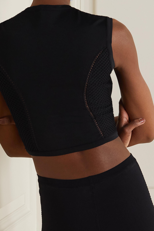 Alaïa Relax cropped mesh-trimmed tech-jersey top