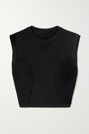 Alaïa Relax cropped mesh-trimmed tech-jersey top