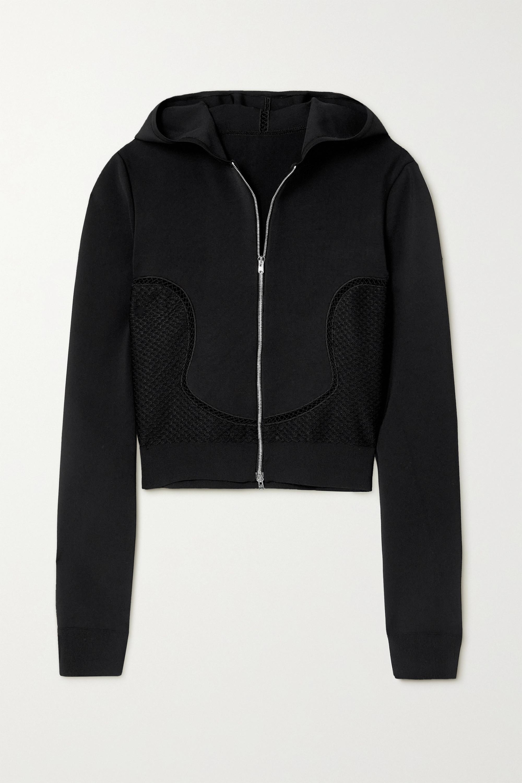 Alaïa Relax mesh-trimmed tech-jersey hoodie