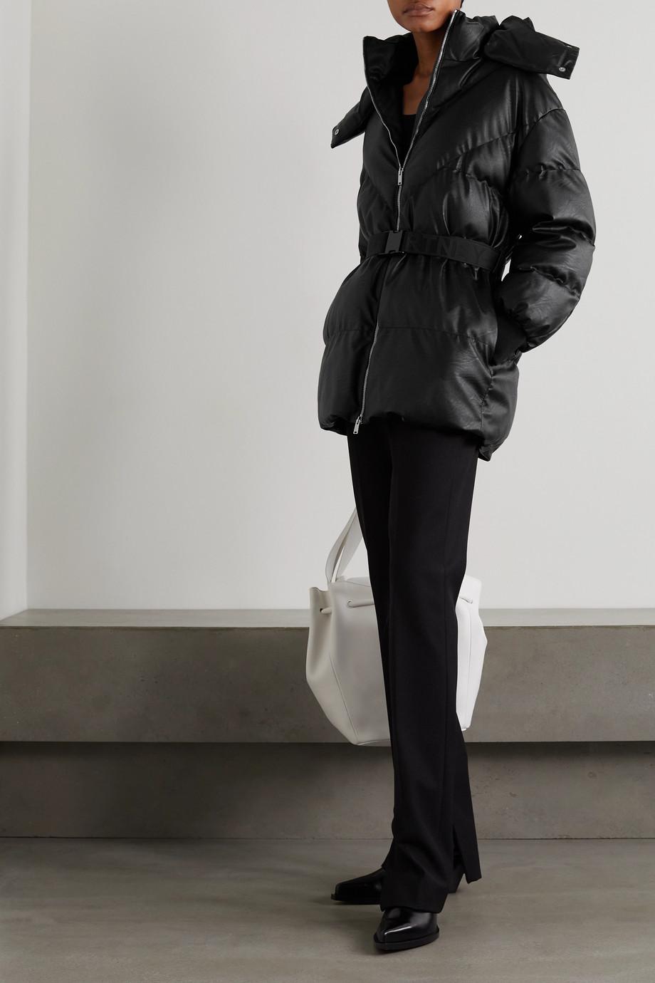 Stella McCartney Doudoune à capuche en cuir végétarien à ceinture Kayla