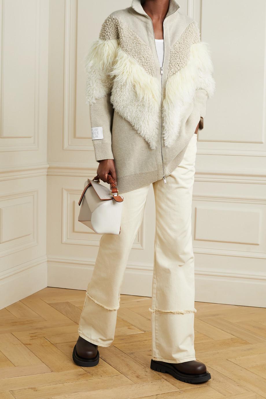 Stella McCartney Cardigan en laine et en peau lainée synthétique - NET SUSTAIN