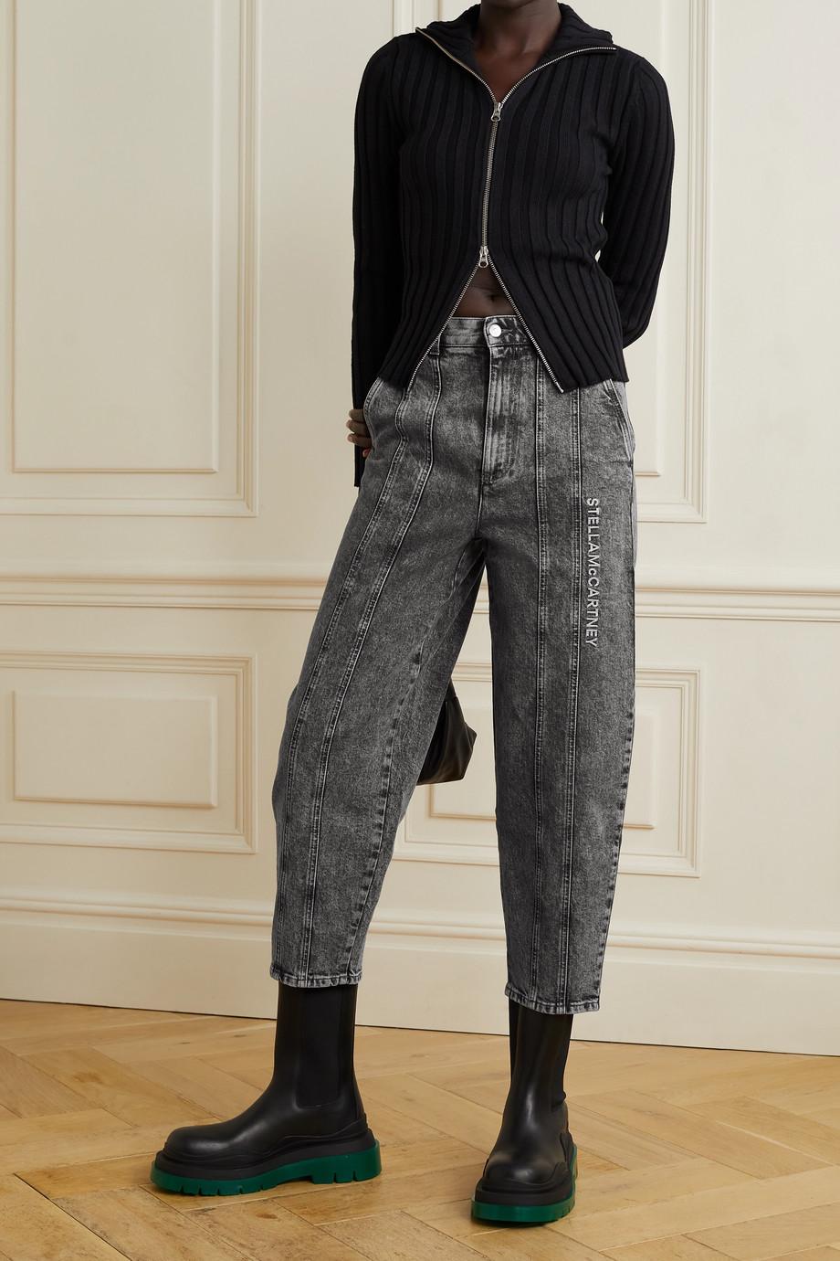 Stella McCartney Jean boyfriend taille mi-haute en denim biologique à broderies - NET SUSTAIN