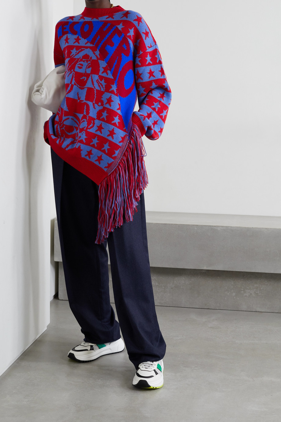Stella McCartney Pull oversize asymétrique en laine intarsia Eco Hero