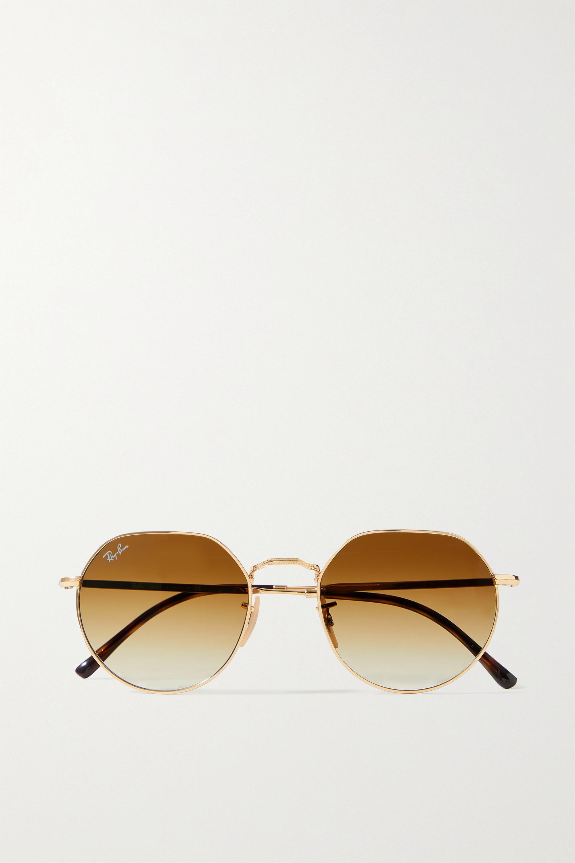 Ray-Ban Lunettes de soleil rondes en métal doré Jack