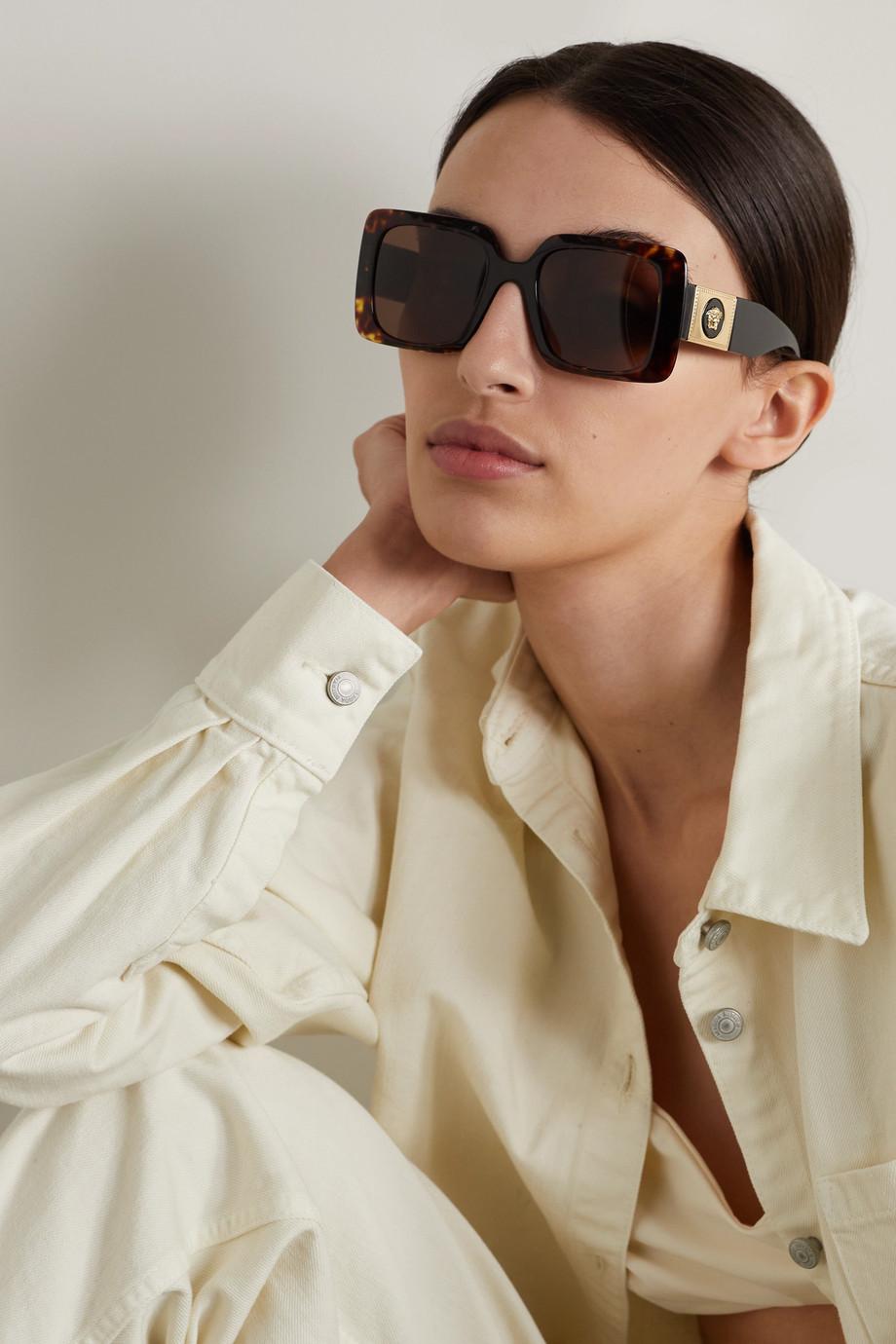 Versace Oversized-Sonnenbrille mit eckigem Rahmen aus Azetat in Hornoptik