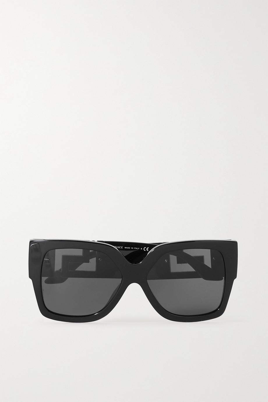 Versace Sonnenbrille mit eckigem Rahmen aus Azetat mit goldfarbenen Details