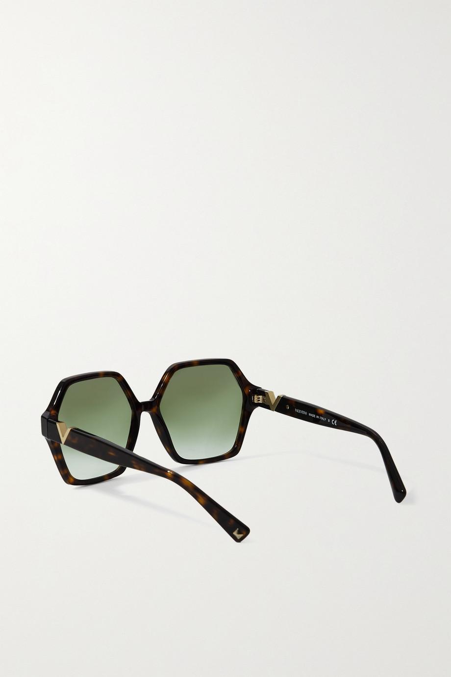 Valentino Valentino Garavani Sonnenbrille mit sechseckigem Rahmen aus Azetat in Hornoptik