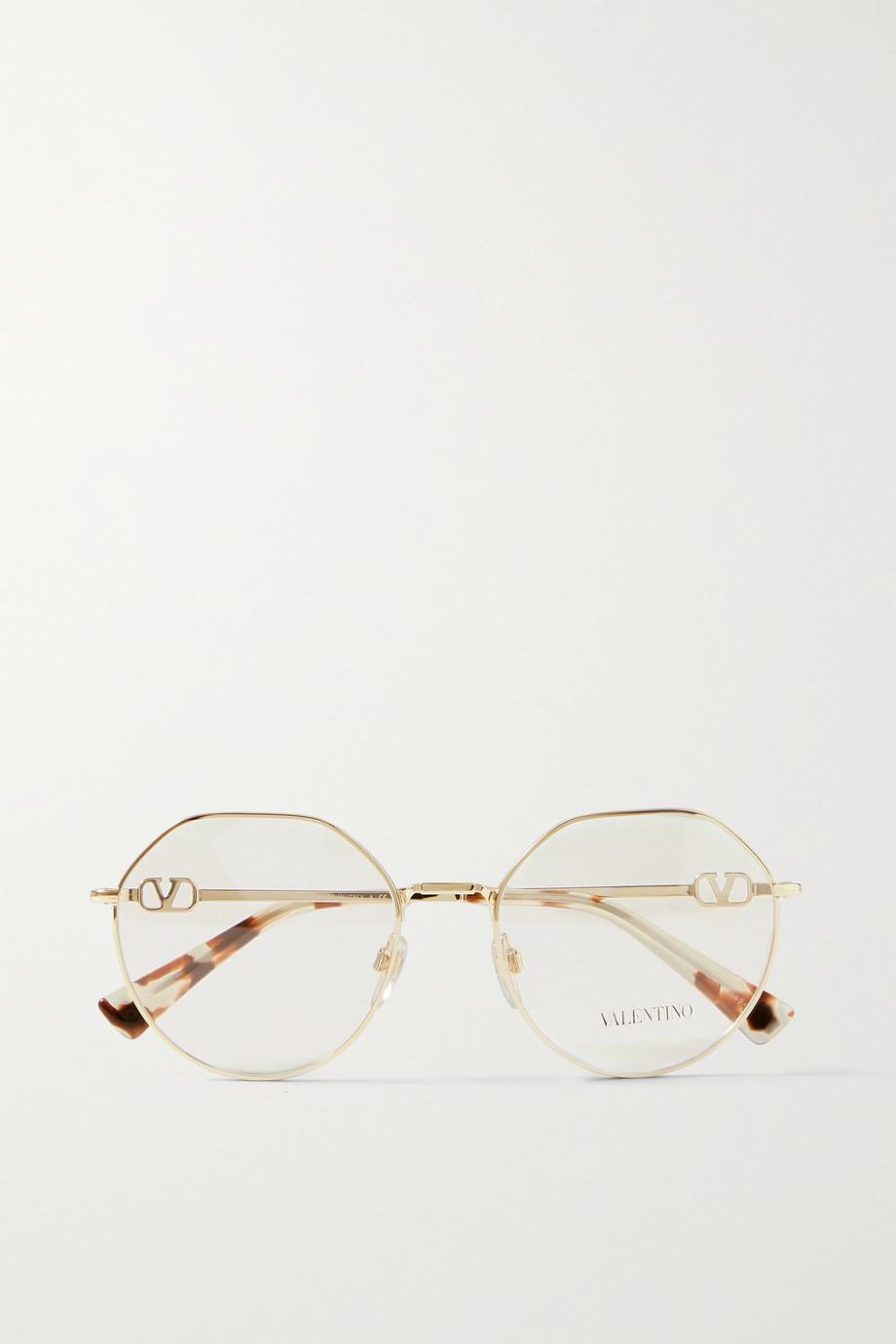 Valentino Valentino Garavani goldfarbene Brille mit rundem Rahmen