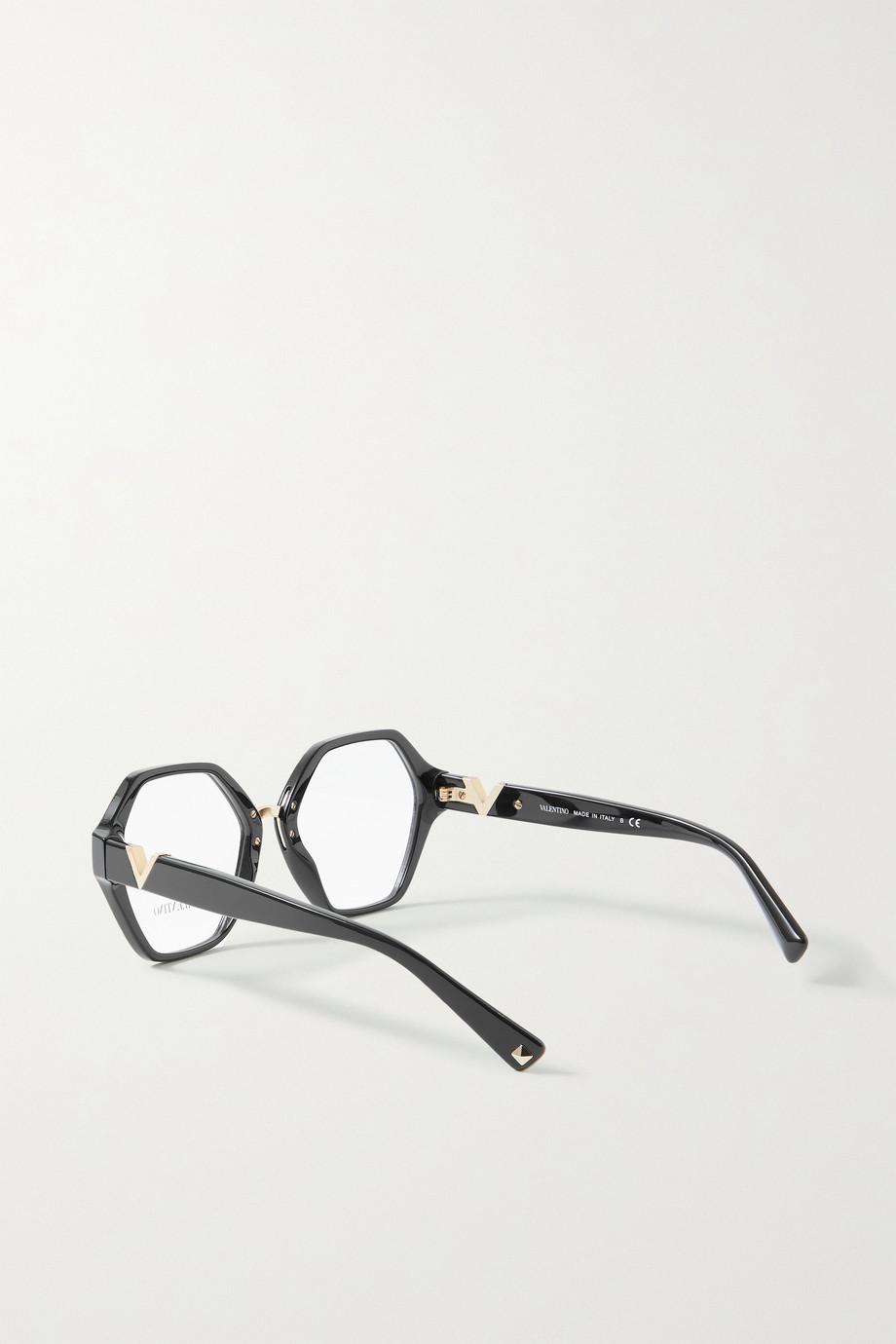 Valentino Valentino Garavani Brille mit sechseckigem Rahmen aus Azetat mit goldfarbenen Details