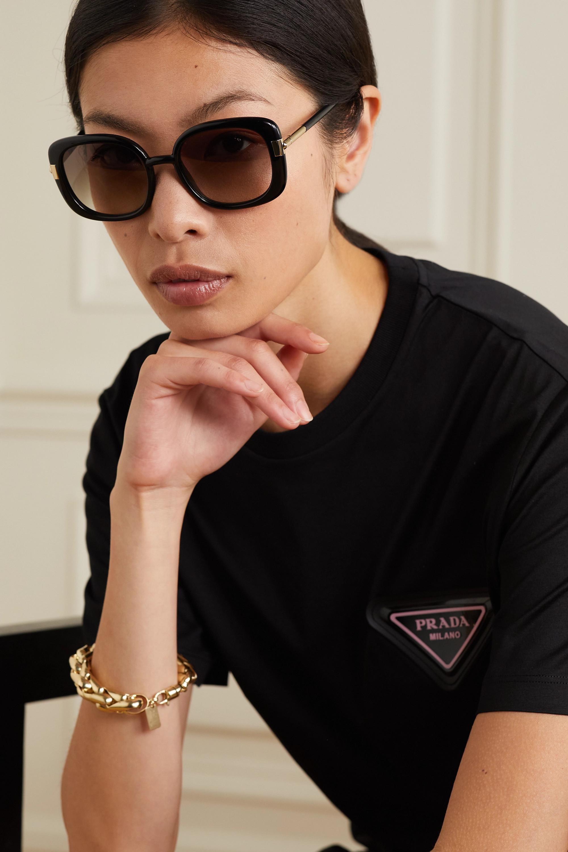 Prada Eyewear Lunettes de soleil carrées en acétate et en métal doré