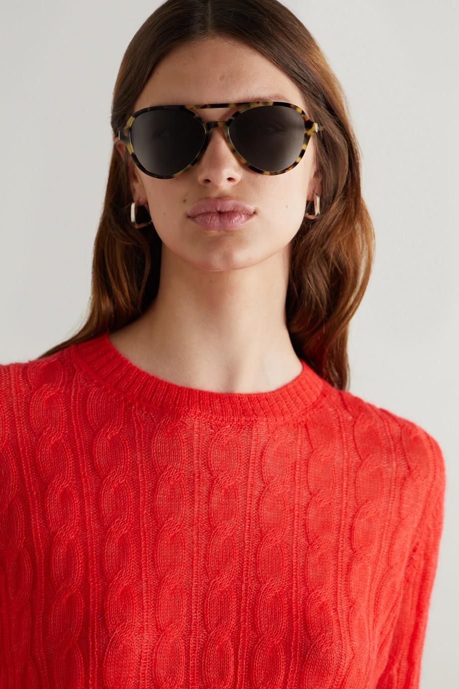 Prada Eyewear Lunettes de soleil aviateur en acétate effet écaille et en métal doré
