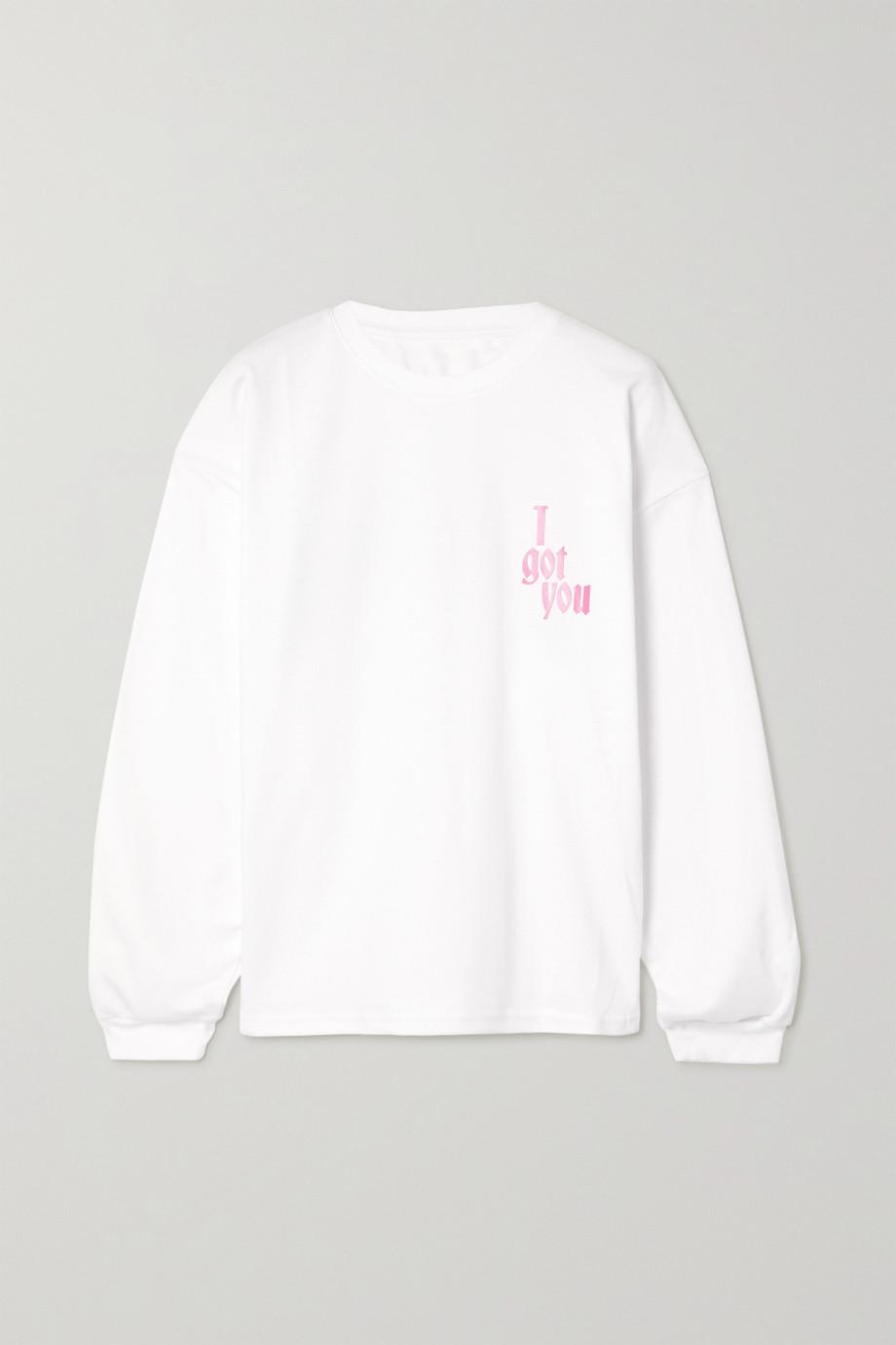 Amina Muaddi International Women's Day printed cotton-jersey top