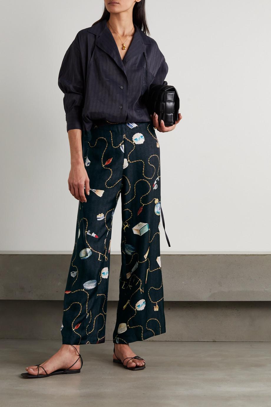 Lanvin Pantalon large en serge de soie imprimée