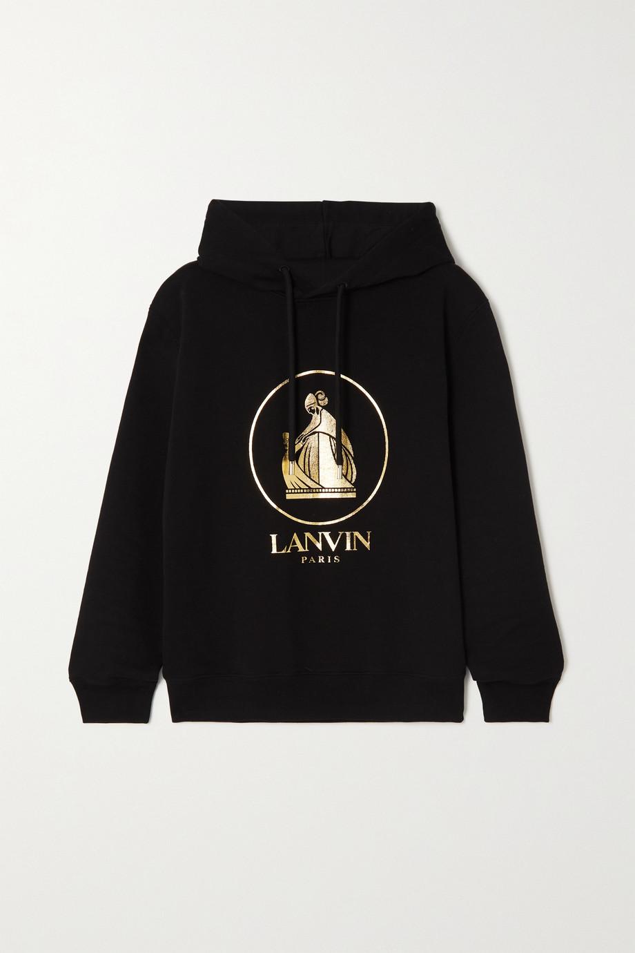 Lanvin Metallic printed cotton-jersey hoodie