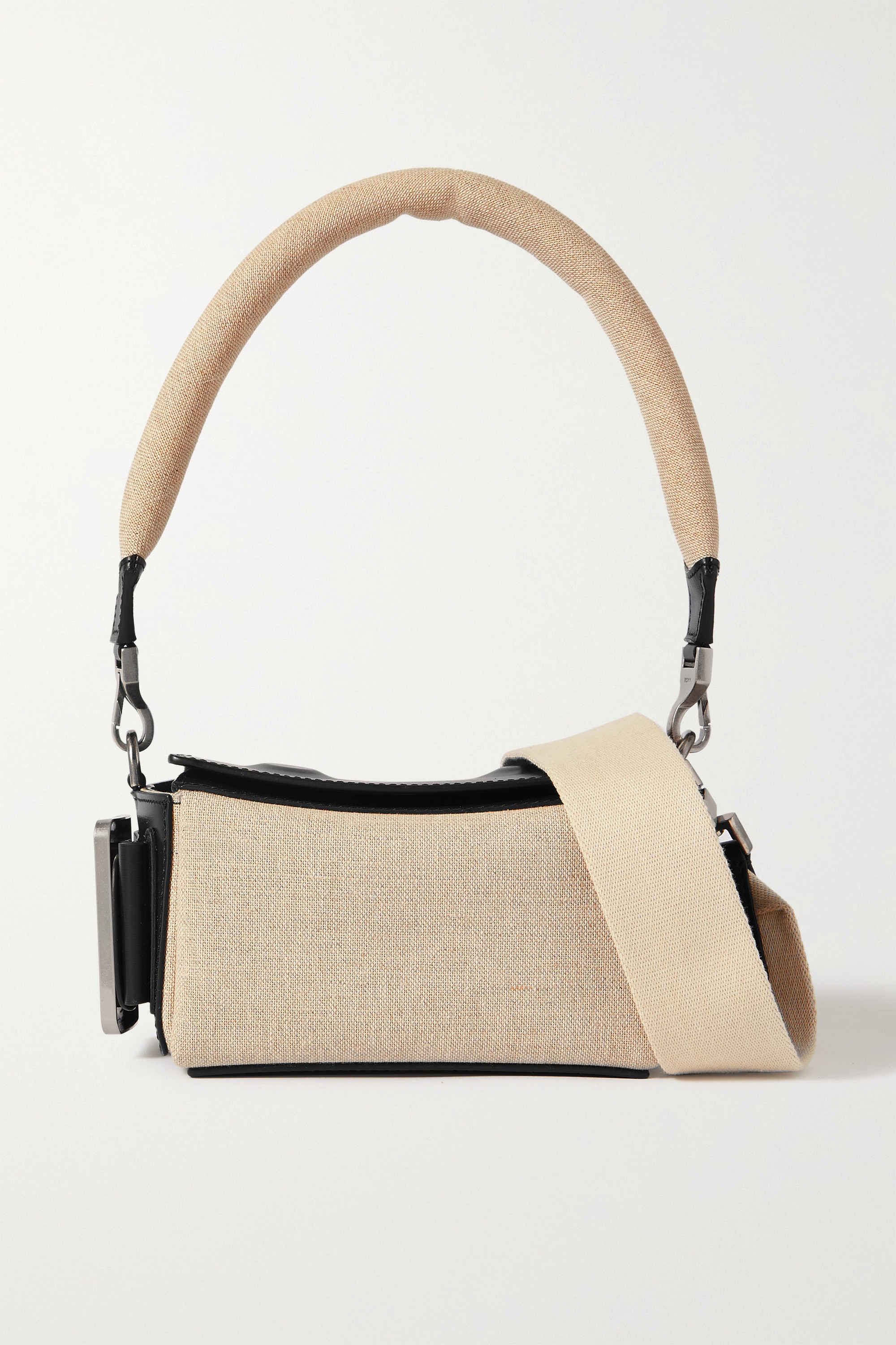 BOYY Shoulder Box buckled leather and canvas bag