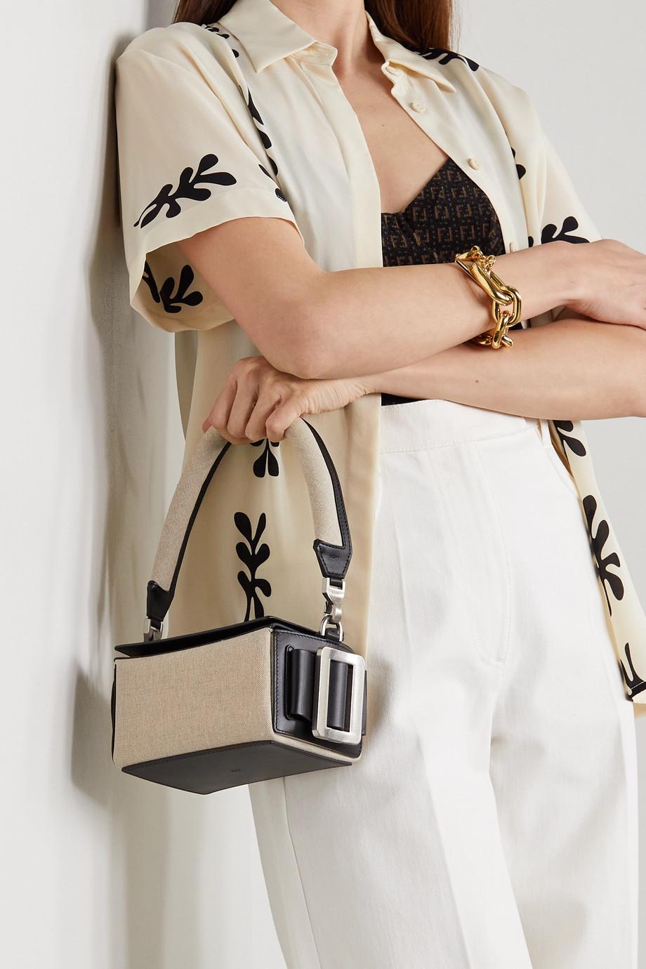 BOYY Shoulder Box Tasche aus Leder und Canvas mit Schnallen