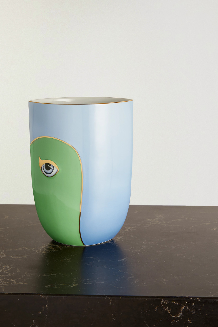 L'Objet + Lito gold-plated porcelain and resin vase