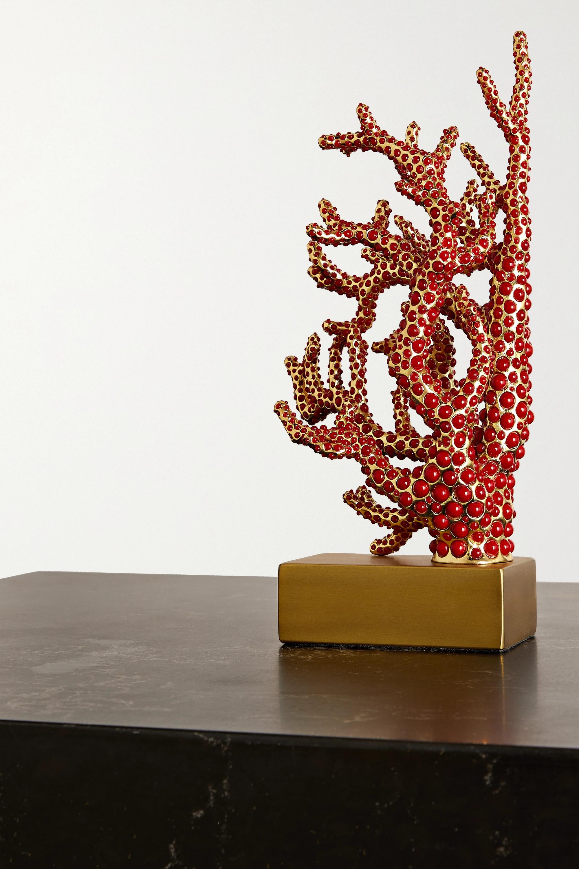 L'Objet 22 cm Buchstütze aus Korallenimitat und vergoldetem Metall