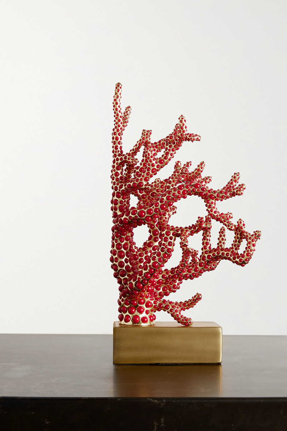 L'Objet Faux coral and gold-plated bookend