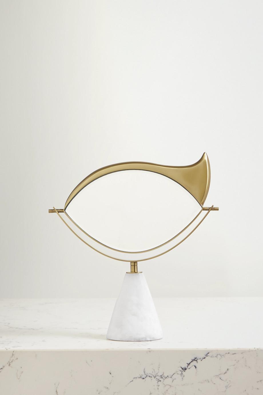 L'Objet Miroir de beauté en porcelaine plaquée or et en marbre x Lito