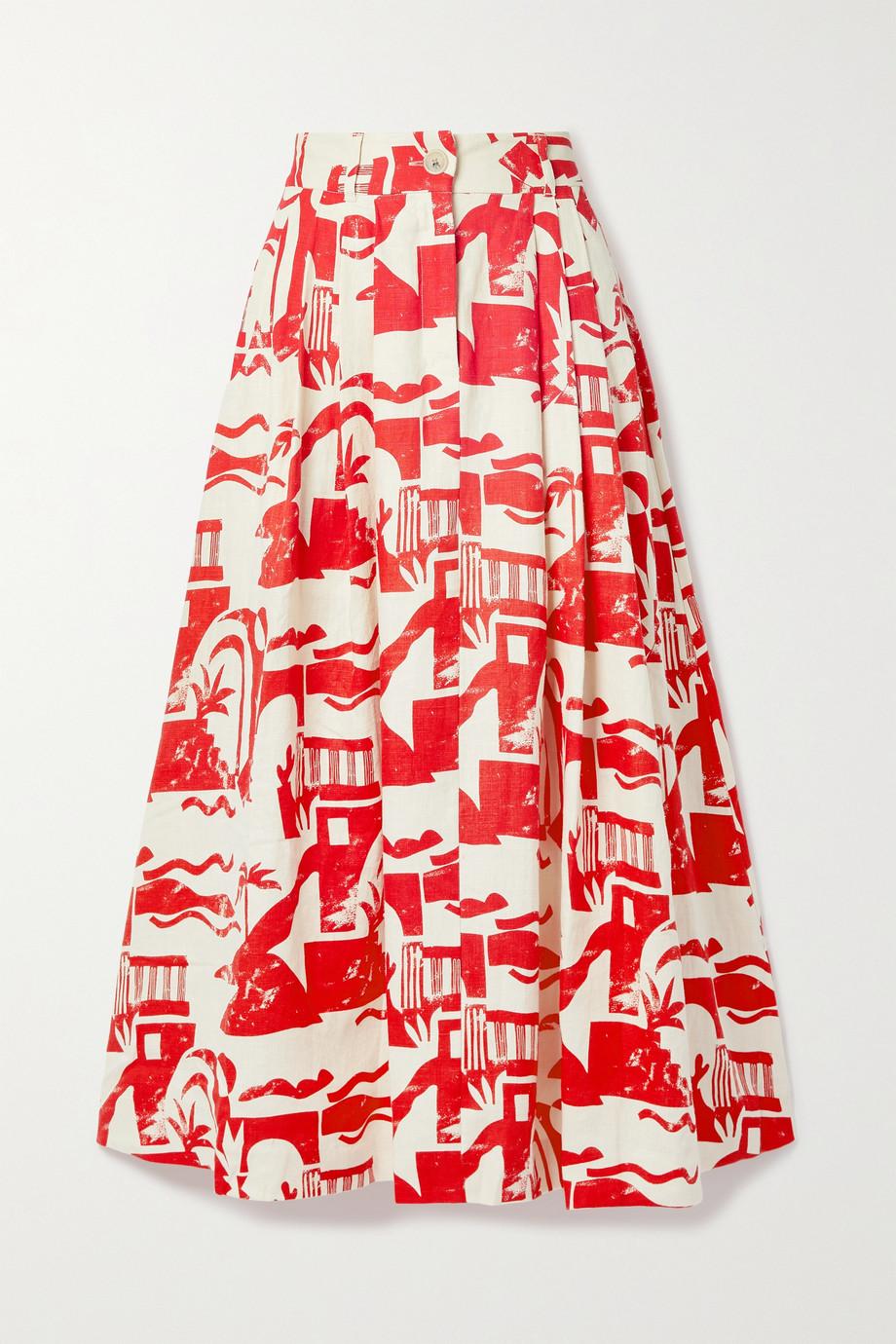 Mara Hoffman Jupe en chanvre imprimé à plis Tulay
