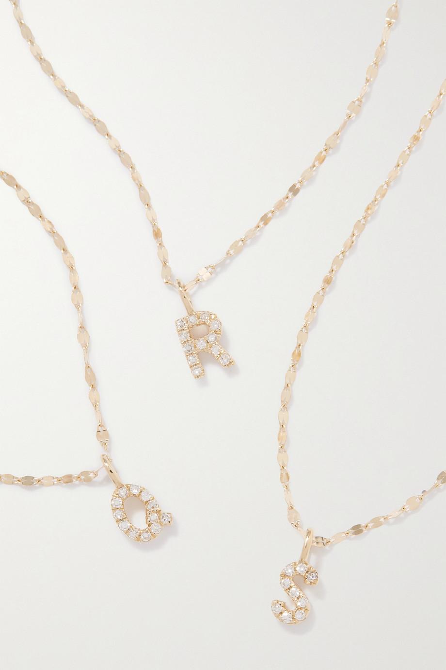 STONE AND STRAND Initial Sparkle Kette aus Gold mit Diamanten