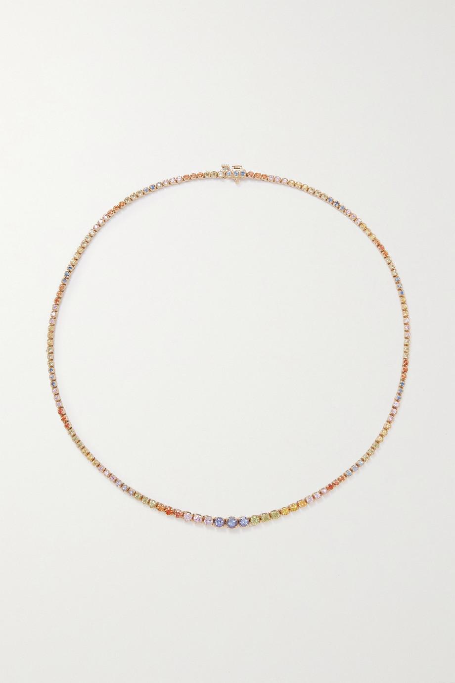 STONE AND STRAND Rainbow Bright Kette aus 10 Karat Gold mit mehreren Steinen