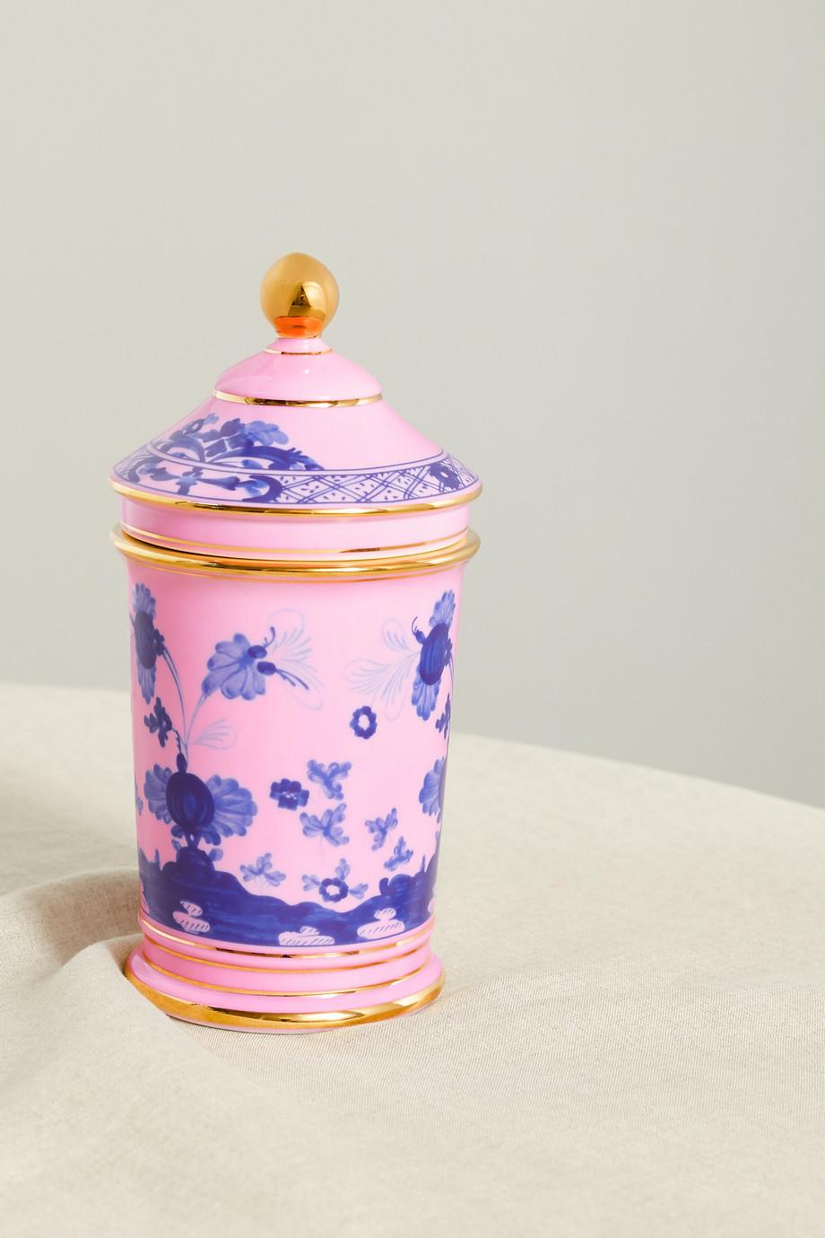 Ginori Pot d'apothicaire en porcelaine plaquée or