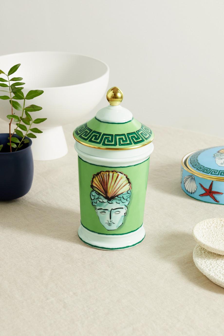 Ginori Pot d'apothicaire en porcelaine peinte plaquée or Viaggio di Nettuno x Luke Edward Hall