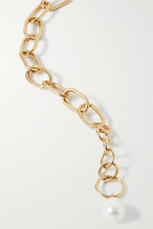 Loren Stewart Industrial XXL vergoldetes Fußkettchen mit Perle
