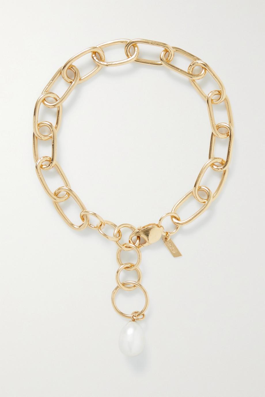Loren Stewart Industrial XXL gold-plated pearl anklet
