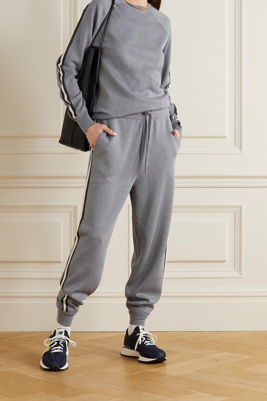 Olivia von Halle Missy London striped silk-blend sweatshirt and track pants set