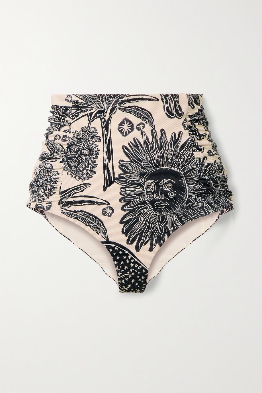 Johanna Ortiz + NET SUSTAIN Pommel ruched printed textured bikini briefs