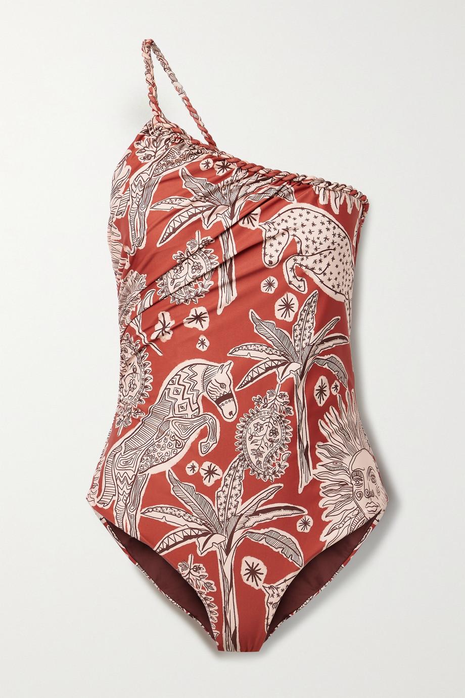 Johanna Ortiz + NET SUSTAIN Mar De Plata bedruckter Badeanzug aus recyceltem Stretch-Material mit asymmetrischer Schulterpartie