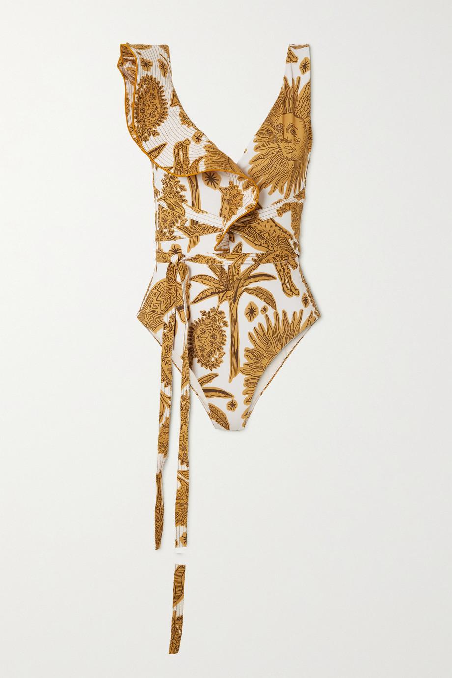 Johanna Ortiz + NET SUSTAIN High Noon Badeanzug mit Print und Rüschen zum Binden