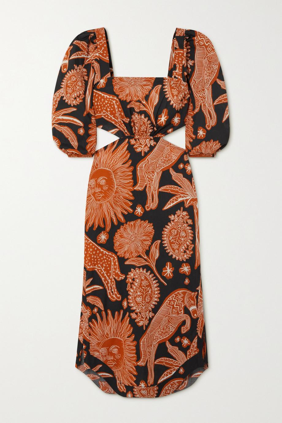 Johanna Ortiz + NET SUSTAIN Macondo cutout printed organic cotton midi dress