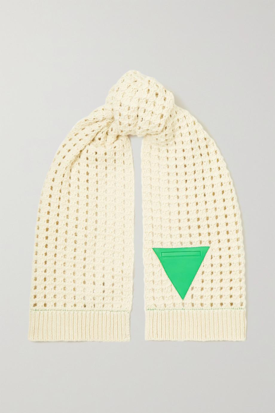 Bottega Veneta Leather-trimmed cable-knit wool scarf