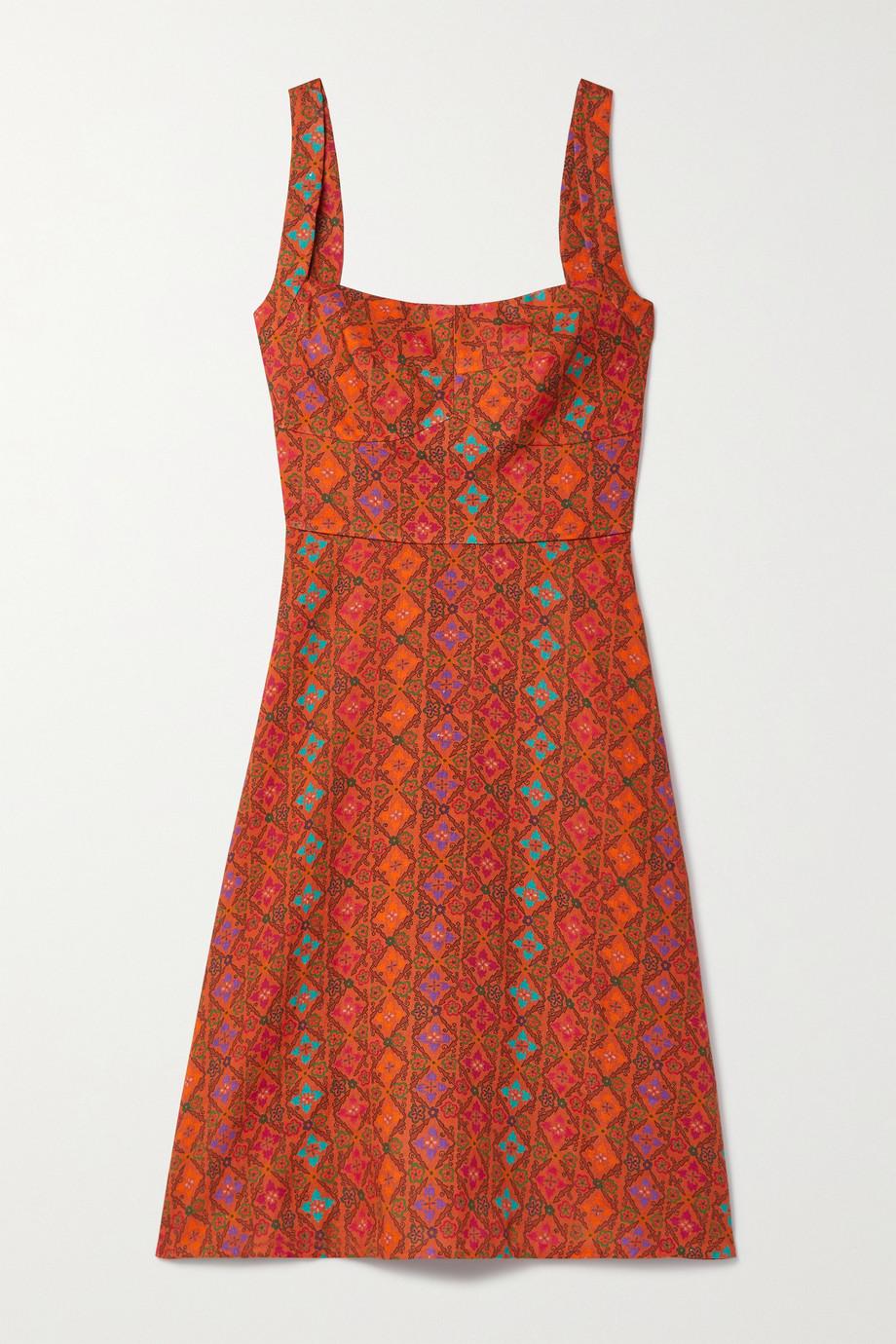 Saloni Rachel printed linen mini dress