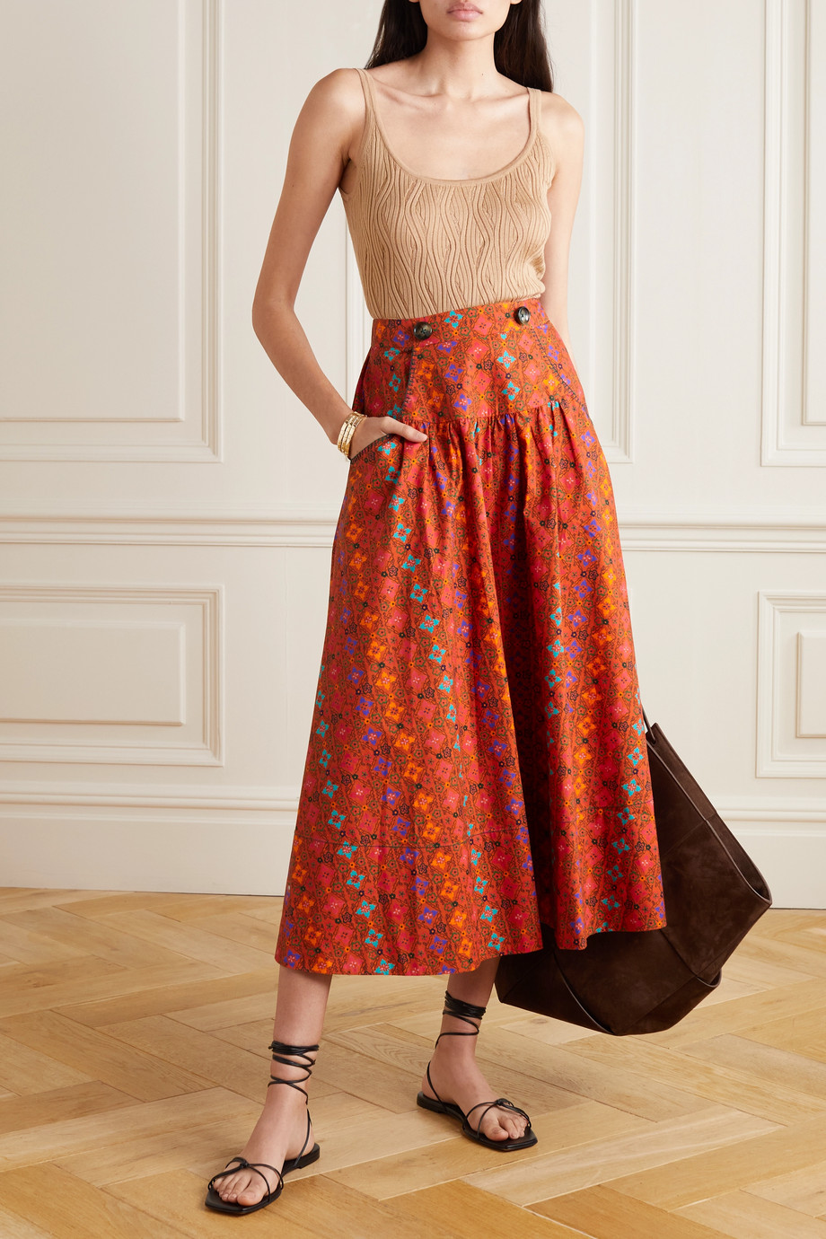 Saloni Della floral-print cotton midi skirt