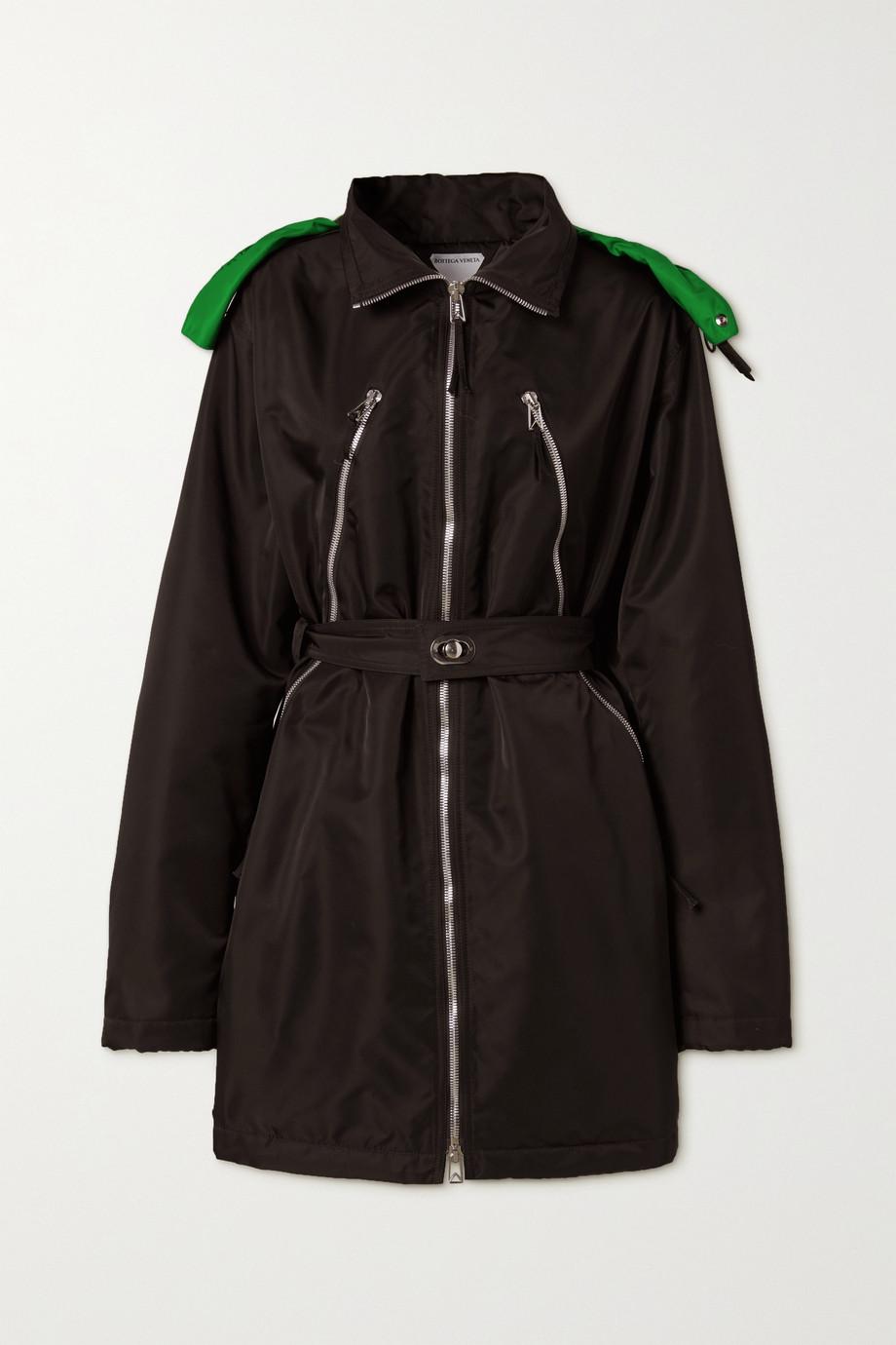 Bottega Veneta Hooded belted zip-detailed shell coat