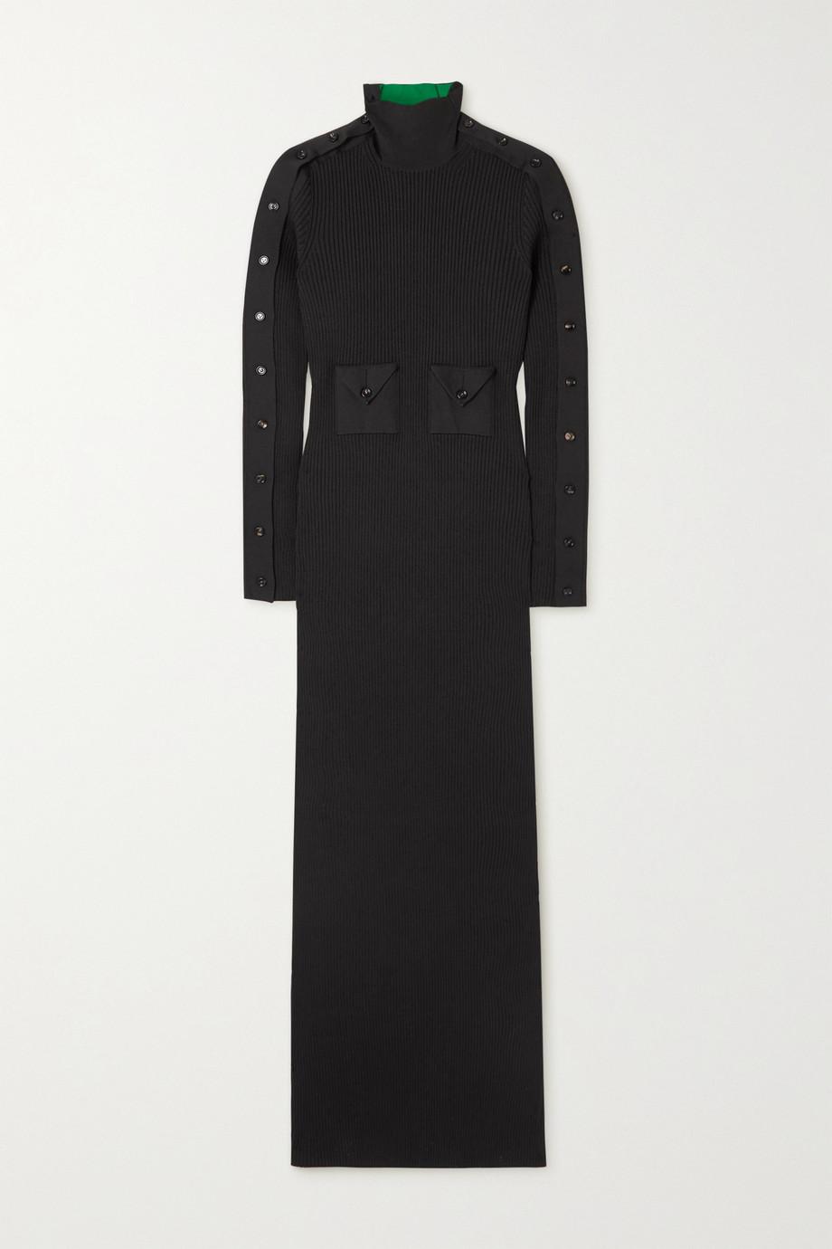 Bottega Veneta Button-detailed ribbed silk-blend turtleneck maxi dress