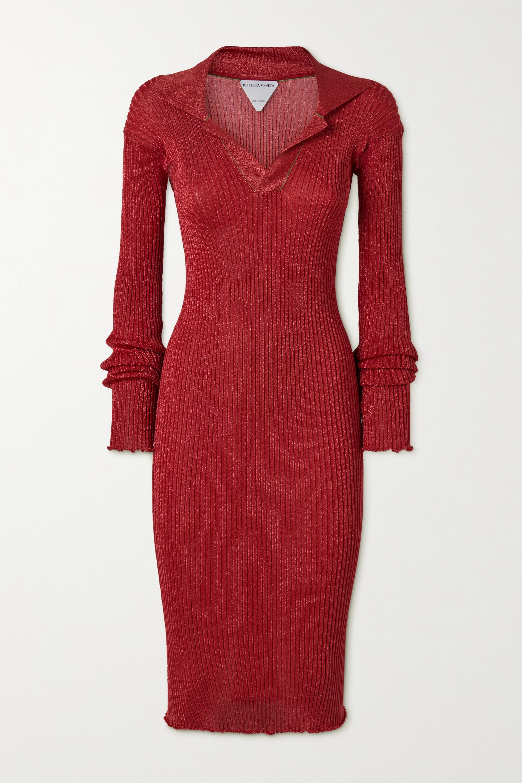 Bottega Veneta Metallic ribbed-knit midi dress